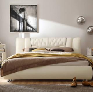 林氏木业  R31# 头层牛皮软包床 + 床头柜