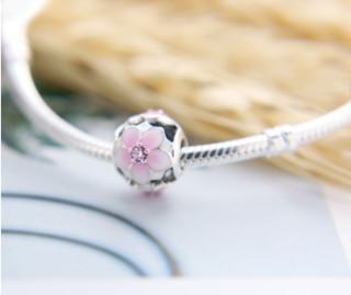 PANDORA 潘多拉 792087PCZ 木兰花镂空串珠925银 粉色