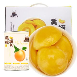 京东PLUS会员 : 熊九九 糖水黄桃水果罐头 礼盒装 425g*6罐