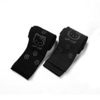 凯蒂猫儿童薄绒打底裤女童春休闲长裤KT8052黑+深灰150cm