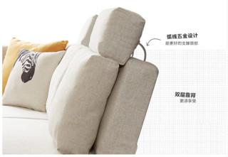 林氏木业 1011 三人位现代布艺沙发 (含沙发床箱+扶手柜)