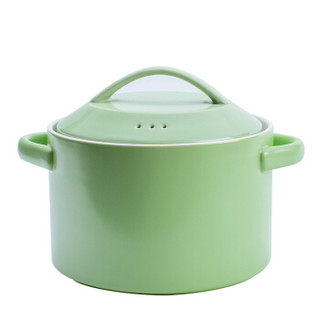 乐享 砂锅陶瓷锅3200ml煲汤炖锅养生汤煲炖煮焖烧锅明火燃气灶锅具 绿色