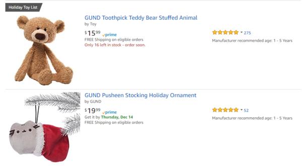 美国亚马逊 精选 Gund 毛绒玩具 圣诞促销