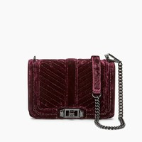 Rebecca Minkoff 瑞贝卡·明可弗 Velvet Chevron Quilted Small Love 女士天鹅绒斜挎包