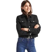 Gap女装 仿羊羔绒黑色机车加厚保暖夹克直筒短款牛仔外套464705-1