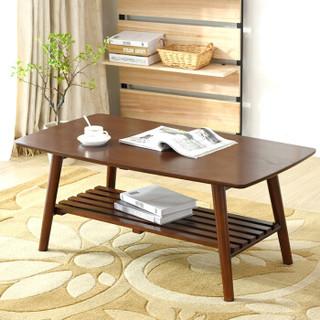 家逸 可折叠双层茶几  简约茶桌边几   客厅简约茶几桌   长方形棕色