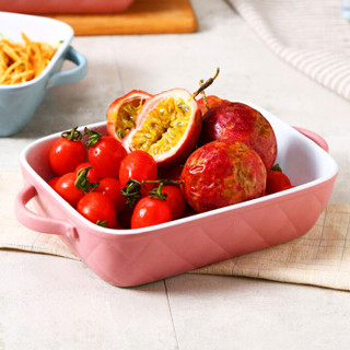 松发 长方形陶瓷烤盘 家用芝士焗饭盘 烤箱专用烘焙用具 菱形系列(粉色) *3件