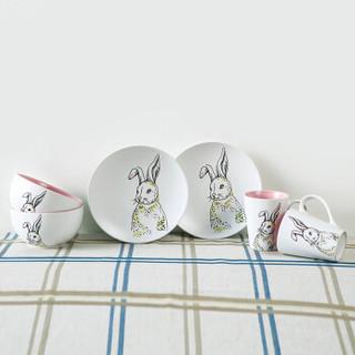 根因 陶瓷欧式西餐碗碟 创意手绘欧式碗碟套装 牛排盘平盘面盘 马克杯 莎拉碗三件套(萌萌兔)