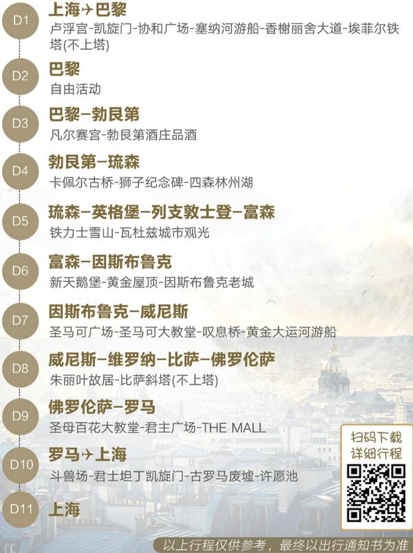 上海-法国+瑞士+意大利+德国11天9晚跟团游