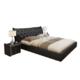 忆斧至家 真皮靠包床套装 框架结构床 1.8米款 +椰棕床垫+床头柜 2个