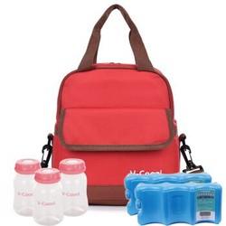 V-Coool 双层母乳保鲜包 红色+干式蓝冰2块+标口PP储奶瓶3个