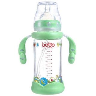 乐儿宝(bobo)金彩系列 玻璃奶瓶宽口径 吸管带手柄(240ml绿色ILP550-G) *2件