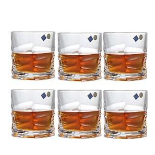 Crystalite Bohemia 波希米亚棱角系列威士忌酒杯320ml 水晶玻璃透明威士忌杯洋酒杯6只装(供应商直送)