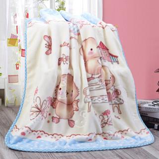 九洲鹿 毛毯家纺 舒适儿童毯子 云貂绒毛毯 宝宝盖毯睡毯抱毯小被子 欢乐园 100*120cm