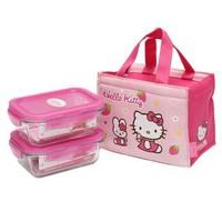乐扣乐扣 Hello kitty卡通格拉斯便当包 耐热玻璃保鲜盒密封容器饭盒两件套装LLG422S2-PKT(380ml*2)粉色