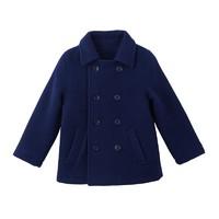 Yiigoo 男童女童像个绅士藏蓝色双排扣复古100%羊毛大衣