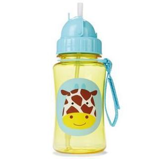SKIP HOP动物园水樽 婴儿学饮杯 儿童水杯350ml(附吸管)-长颈鹿 6个月以上 美国进口