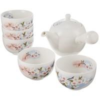 美浓烧 小茶壶茶具套组 1壶 5杯 ( 淡墨樱花 )
