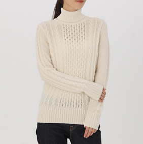 MUJI 无印良品  W7AA874 女士 阿兰图案高领毛衣