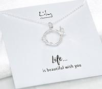 Lily charmed S925银 银色蝴蝶环项链