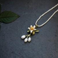 Michael Michaud 纯手工饰品橙花系列 珍珠项链