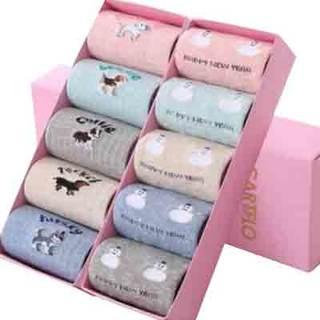 卡帝乐鳄鱼 小狗雪人趣味女袜 10双礼盒装