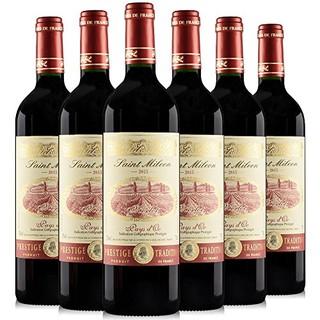 #情人节好礼#圣米隆100%梅洛酿造干红葡萄酒原瓶装进口法国红酒750ml*6整箱装 果香浓郁单宁柔和适合聚会宴请
