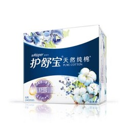 whisper 护舒宝 纯棉卫生巾舒缓型日用 240mm 6片