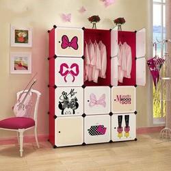 Disney迪士尼米妮 12门8格2挂(3列4) 收纳柜储物柜整理柜简易衣柜衣橱(赠磁铁)