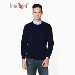 INTERIGHT 男士棉质净色暗提花圆领针织衫
