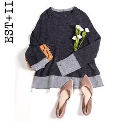 EST+II/艺诗 女士学院风条纹拼接针织衫圆领上衣