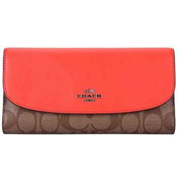 COACH 蔻驰 奢侈品 女士卡其配橙色PVC配皮长款钱包钱夹 F57319 SVC80 *2件