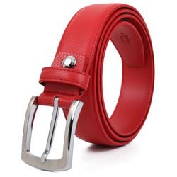 皮尔卡丹(pierre cardin)皮带 吉祥如意男腰带牛皮针扣裤带礼盒P7A818238-BAC红色