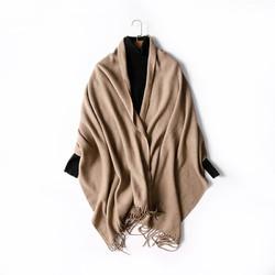 FIRSTMIX秋冬新款日系纯色流苏围脖柔软保暖两用羊毛披男女肩围巾