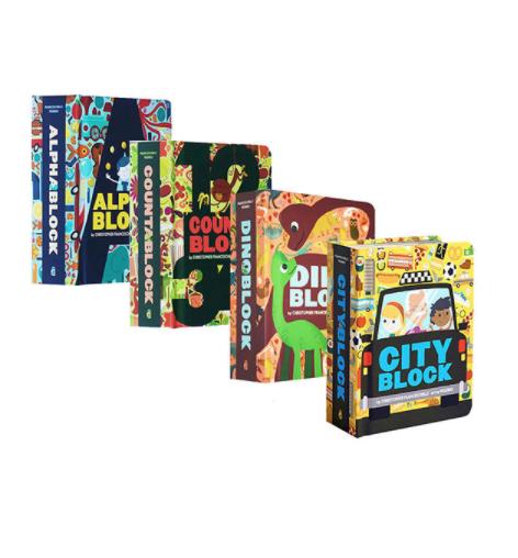 《造型纸板书:字母/数字/恐龙/城市》(英文原版、共4册)