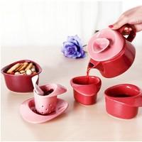 PO: 玫瑰花朵系列 陶瓷茶壶套装 7件套