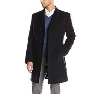 限42码 : TOMMY HILFIGER Barnes Single-Breasted 男款羊毛大衣