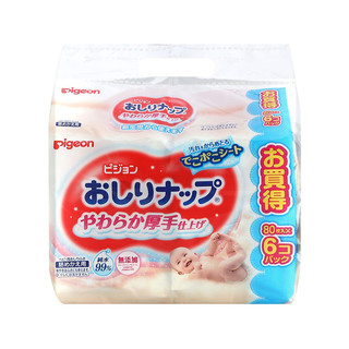 Pigeon 日本贝亲 婴儿湿纸巾 柔软加厚版 80枚*6包  *4件