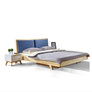 香河 北欧实木双人框架床 1.8*2m + 床头柜*1个