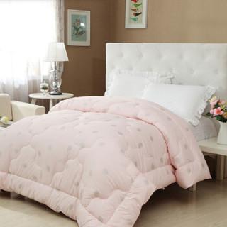 水星家纺专利产品 天丝春秋被子 保暖超柔被芯床上用品 粉色 加大双人被子220*240cm