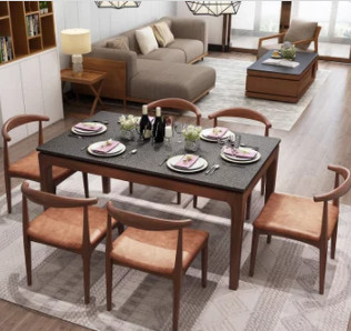 Romantic Star 浪漫星 火烧石白蜡木餐桌椅组合 (餐桌1.3米+4椅 )