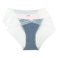 FIRSTMIX 蕾丝拼接条纹 低腰内裤