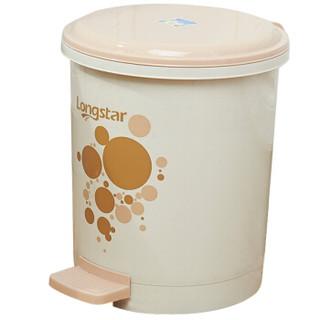 京东PLUS会员 : LONGSTAR 龙士达 LA-07 踩踏式塑料垃圾桶 米色
