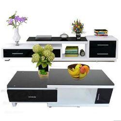 木巴 DSG108+CJ108 可拉伸钢化玻璃电视柜+伸缩茶几组合