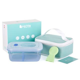 变奏曲全硅胶饭分格盒 儿童防摔饭盒 辅食保鲜盒 带饭盒 700ml 水晶蓝 *3件