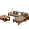 曲尚 现代中式实木沙发  L型客厅沙发家具组合套装 908(海棠 咖啡 4人位 贵妃脚踏 茶几) 3199元