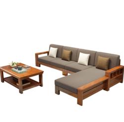 曲尚 现代中式实木沙发  L型客厅沙发家具组合套装 908(海棠 咖啡 4人位 贵妃脚踏 茶几)