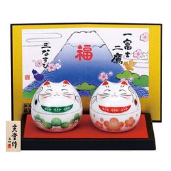 药师窑 7555 彩绘 福梦招财猫套装 可用作小物收纳盒