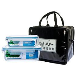 贝特阿斯  耐热玻璃保鲜盒两件套(400ml+800ml)   RL2-06B *2件