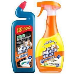 Mr Muscle 威猛先生 厨房重油污净 柠檬 500g + 强效洁厕液 500g *2件